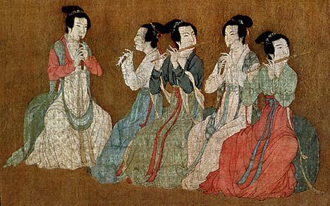 Китайские исполнительницы игры на флейте. Фото: wikimedia.org