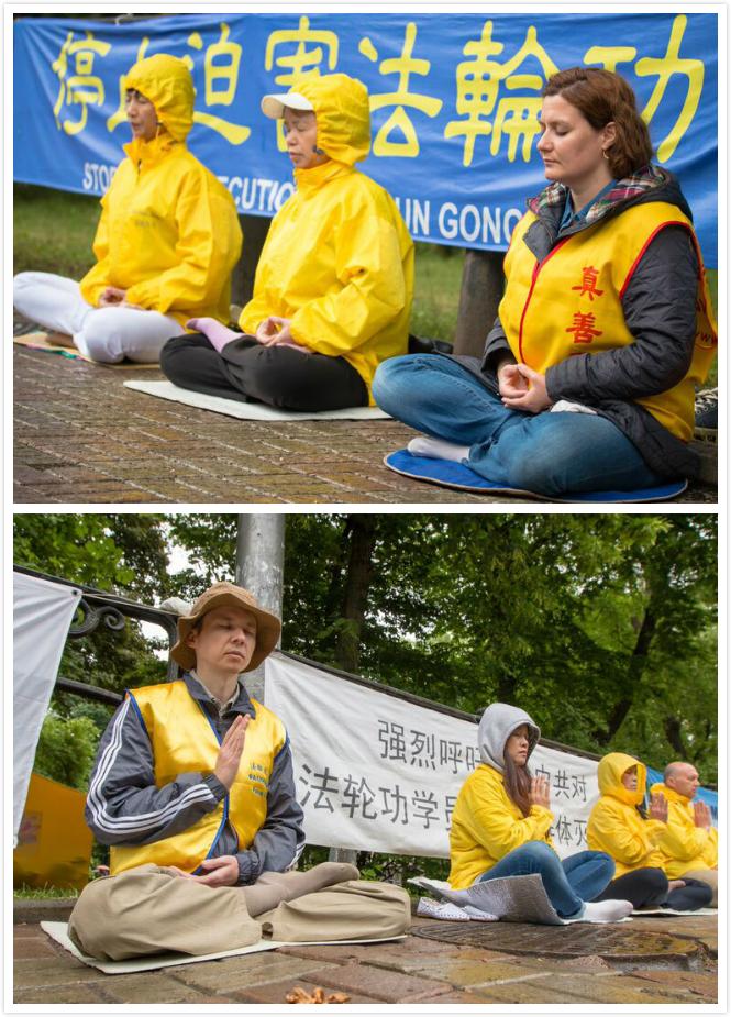 Практикующие Фалуньгун мирно протестуют перед китайским посольством