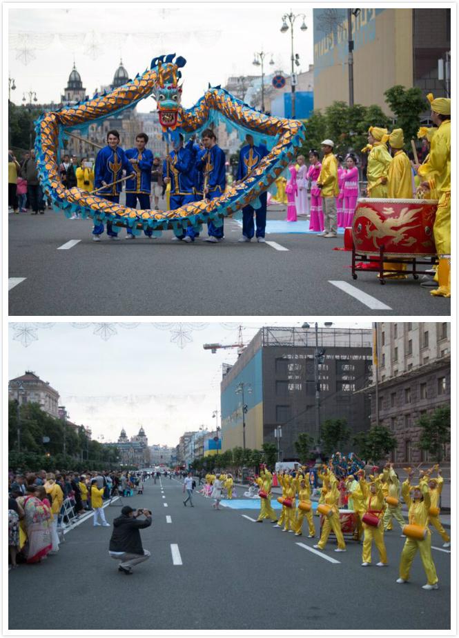 Практикующие Фалуньгун исполняют танцы, в том числе танец дракона, и танец китайских барабанов, отображающие радость и гармонию практикующих.